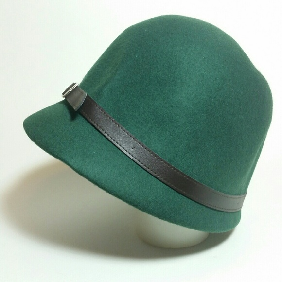b6988a29705 Accessories - 100% Wool Green Cloche Hat 1920s flapper hat cap
